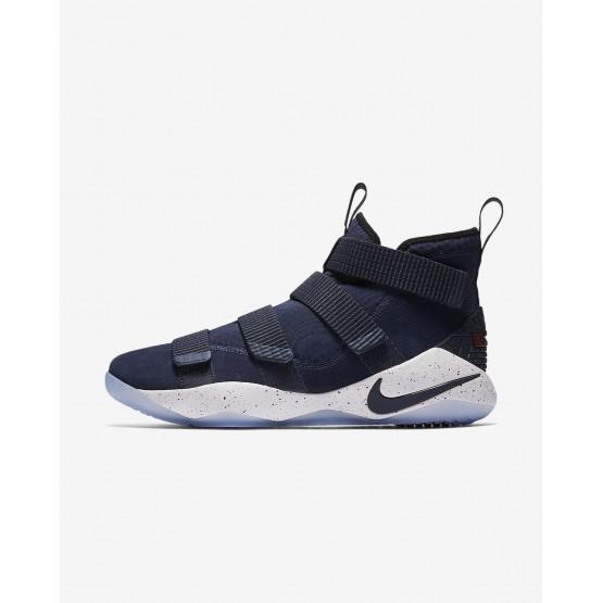 Chaussure de Basket Nike LeBron Soldier XI Femme Bleu Marine/Blanche/Rouge 897644-401