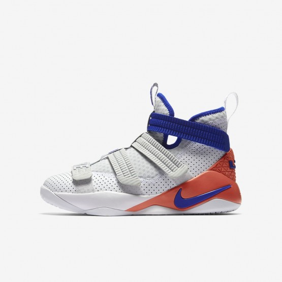 Nike LeBron Soldier XI Basketball Shoes Boys White/Infrared/Pure Platinum/Racer Blue AJ5123-101