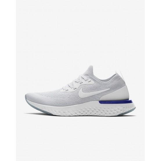 Chaussure Running Nike Epic React Flyknit Femme Blanche/Bleu AQ0070-100