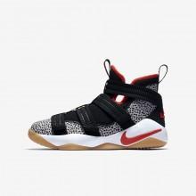 Nike LeBron Soldier XI Basketball Shoes Boys Black/White/Atmosphere Grey/Team Orange AJ5123-006