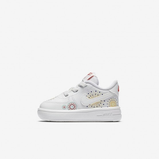 Chaussure Casual Nike Air Force 1 Fille Blanche/Rouge/Vert AO2092-100