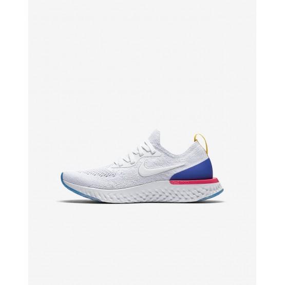 Chaussure Running Nike Epic React Flyknit Garcon Blanche/Bleu/Rose 943311-101