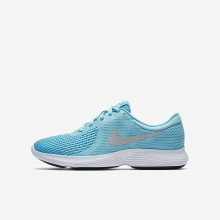 Nike Revolution 4 Running Shoes Girls Bleached Aqua/Light Blue Fury/White/Metallic Silver 943306-400