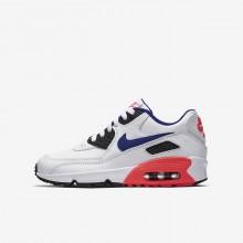 Nike Air Max 90 Lifestyle Shoes Boys White/Solar Red/Black/Ultramarine 833412-112