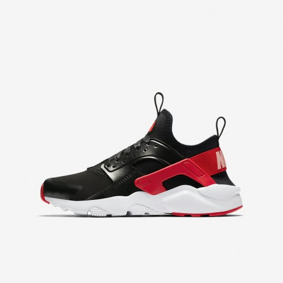 Nike Air Huarache Lifestyle Shoes Girls Black/Bleached Coral/Speed Red AO1030-001