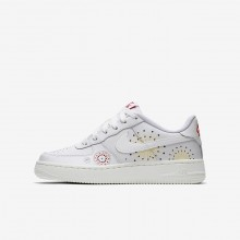 Nike Air Force 1 Lifestyle Shoes Boys Summit White/Habanero Red/Kinetic Green AJ4234-100