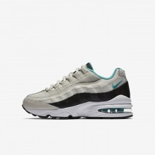Nike Air Max 95 Lifestyle Shoes Boys Light Bone/Black/White/Sport Turquoise 905348-012