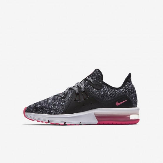 Nike Air Max Sequent Running Shoes Girls Black/Anthracite/Cool Grey/Racer Pink 922885-001