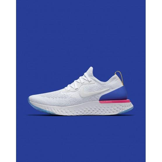 Chaussure Running Nike Epic React Flyknit Femme Blanche/Bleu/Rose AQ0070-101