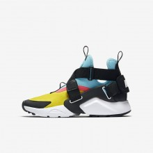 Nike Huarache Lifestyle Shoes Boys Tour Yellow/Bleached Aqua/Racer Pink/Anthracite AJ6662-700