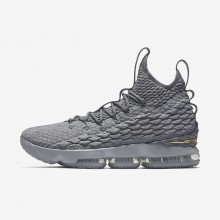 Nike LeBron 15 Basketball Shoes Womens Wolf Grey/Cool Grey/Metallic Gold 897648-005