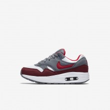 Nike Air Max 1 Lifestyle Shoes Boys White/Cool Grey/Team Red/University Red 807603-109