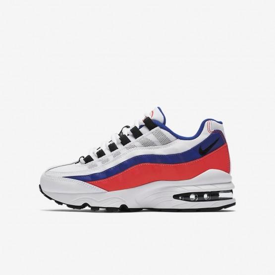 Nike Air Max 95 Lifestyle Shoes Boys White/Solar Red/Ultramarine/Black 905348-103