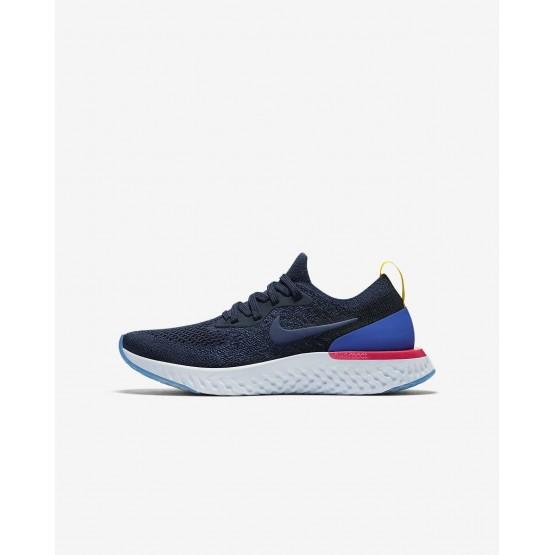 Chaussure Running Nike Epic React Flyknit Garcon Bleu Marine/Bleu/Rose 943311-400