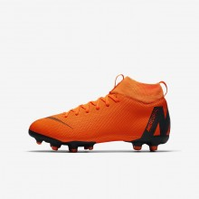 Nike Jr. Superfly VI Soccer Cleats Boys Total Orange/Volt/White AH7337-810