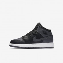 Air Jordan 1 Lifestyle Shoes Boys Black/Summit White/Dark Grey 554725-041
