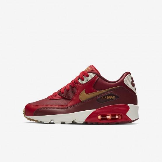 Sapatilhas Casual Nike Air Max 90 Menino Vermelhas/Vermelhas/Douradas 833412-602