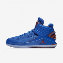Air Jordan XXXII Basketball Shoes Mens Photo Blue/Metallic Silver/Team Orange AA1253-400