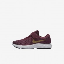 Nike Revolution 4 Running Shoes Girls Tea Berry/Bordeaux/White/Metallic Gold 943307-601