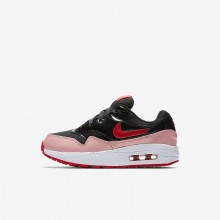 Nike Air Max 1 Lifestyle Shoes Girls Black/Bleached Coral/Speed Red AO1027-001
