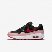 Nike Air Max 1 Lifestyle Shoes Girls Black/Bleached Coral/Speed Red AO1026-001