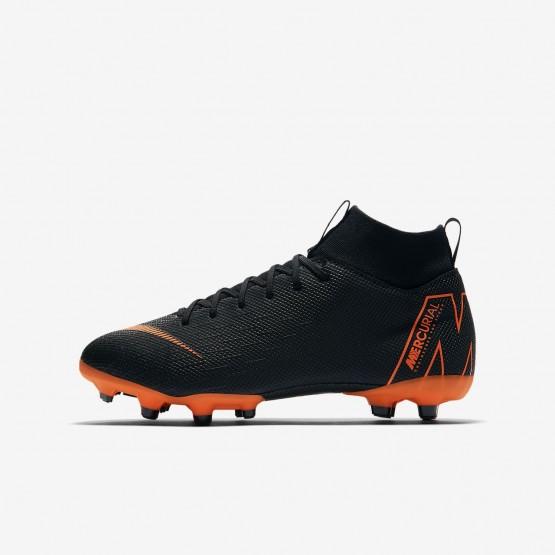 Nike Jr. Superfly VI Soccer Cleats Boys Black/White/Total Orange AH7337-081