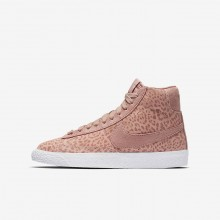 Nike Blazer Mid Lifestyle Shoes Girls Coral Stardust/Gum Light Brown/White/Rust Pink 902772-601