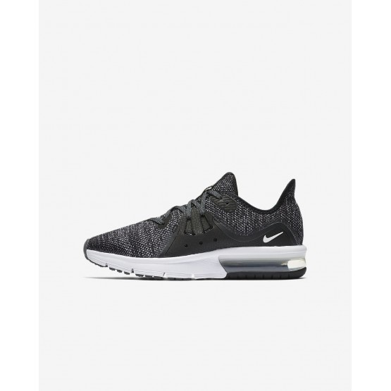 Chaussure Running Nike Air Max Sequent Garcon Noir/Grise Foncé/Blanche/Metal 922884-001