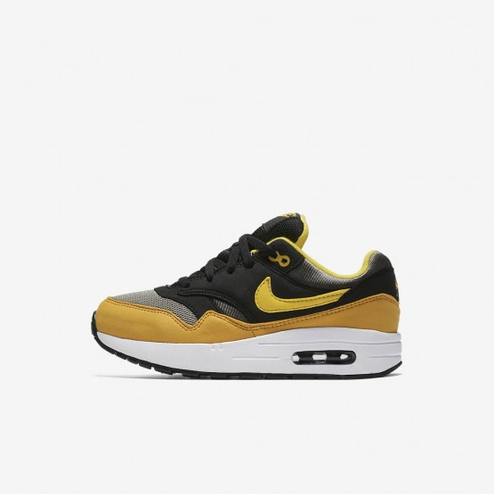 Nike Air Max 1 Lifestyle Shoes Boys Dark Stucco/Black/Mineral Yellow/Vivid Sulfur 807603-007