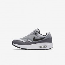 Nike Air Max 1 Lifestyle Shoes Boys White/Wolf Grey/Gunsmoke/Black 807603-108