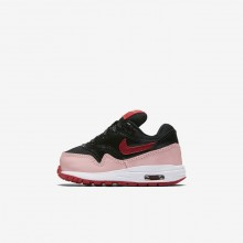 Nike Air Max 1 Lifestyle Shoes Girls Black/Bleached Coral/Speed Red AO1028-001