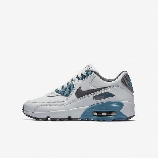 Nike Air Max 90 Lifestyle Shoes Boys Pure Platinum/Noise Aqua/Dark Grey/Cool Grey 833412-018