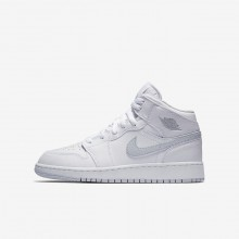 Air Jordan 1 Lifestyle Shoes Boys White/Pure Platinum 554725-108