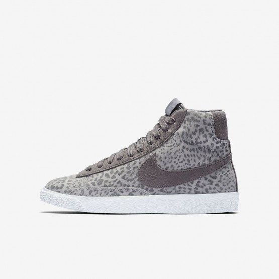 Chaussure Casual Nike Blazer Mid Fille Grise/Marron Clair/Blanche 902772-004