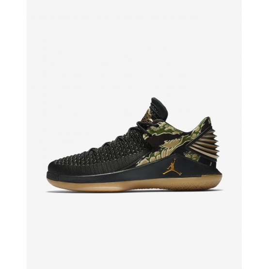 Air Jordan XXXII Basketball Shoes Mens Black/White/Metallic Gold AA1256-021